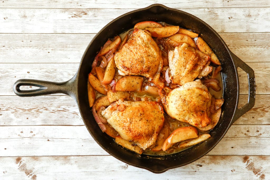 Apple Cider Braised Chicken Thighs